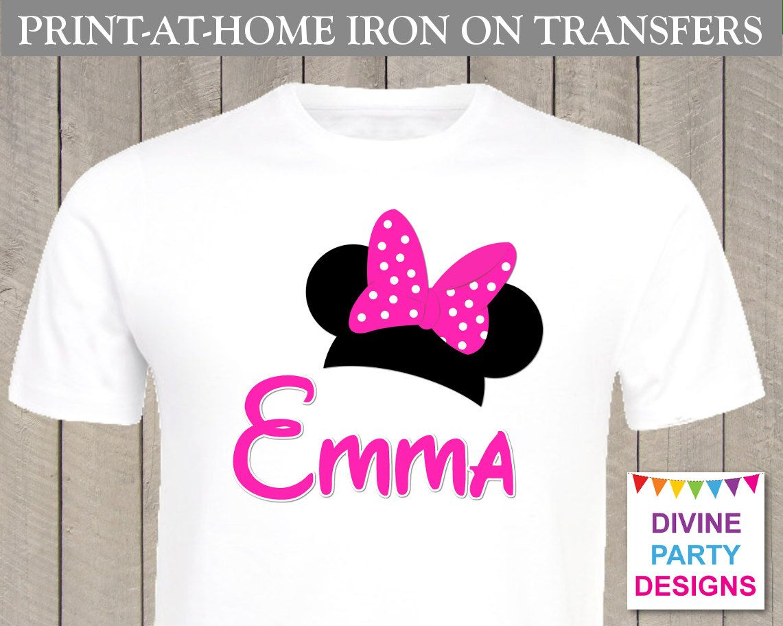 Design your own t-shirt hot pink - Make Your Own Shirt With The Personalized Pink Minnie Mouse Printable Iron On Transfer Print