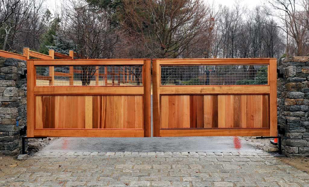 Custom Cedar Wood Automated Driveway Gate By Tri State Gate New York Wooden Gates Driveway Driveway Gate Driveway Gate Diy
