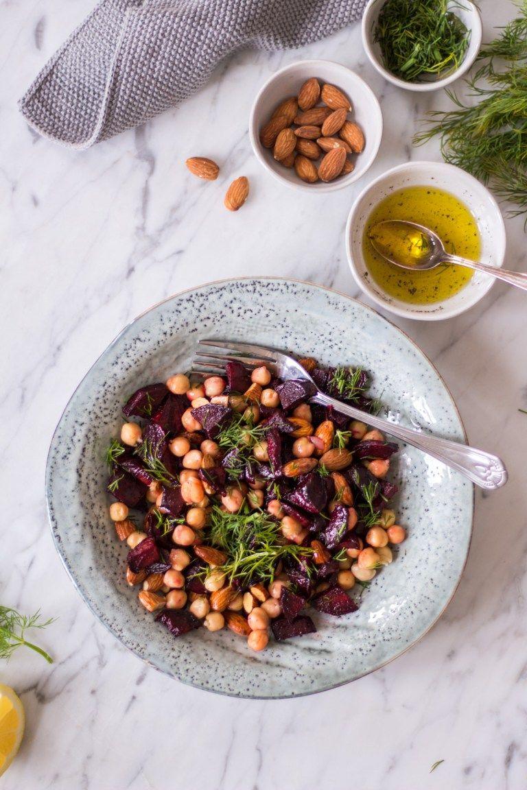 Schneller Kichererbsen Rote Bete Salat Mit Mandeln Und Dill Rezept