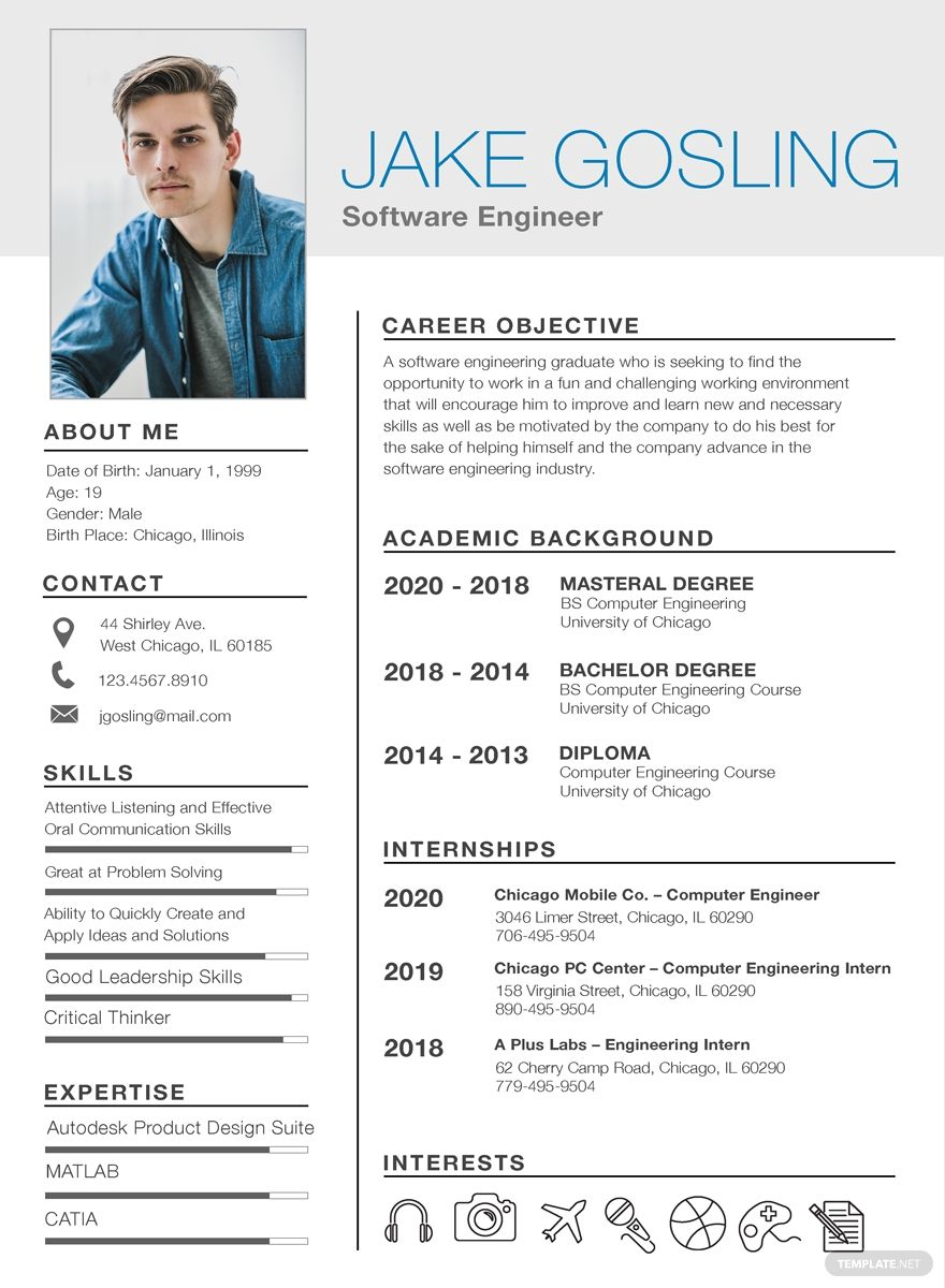 Free Simple Fresher Resume in 2020 Free resume template