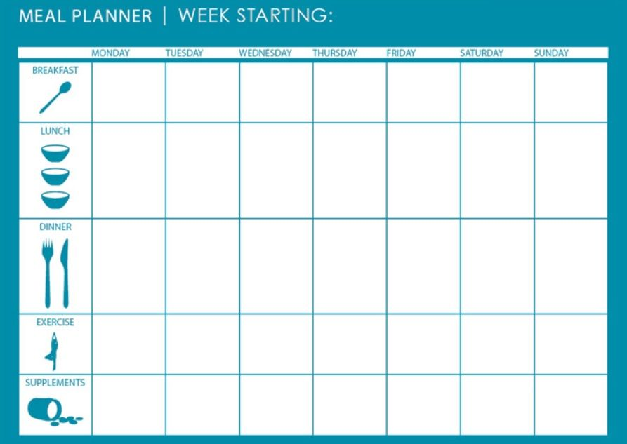 printable meal calendar template
