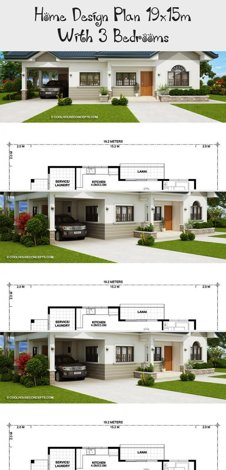 Home Design Plan 19x15m With 3 Bedrooms Home Design With Plansearch Shophouseplans Houseplans2500sqft Mediterraneanhouseplans Houseplansmi In 2020 Home Design Plan