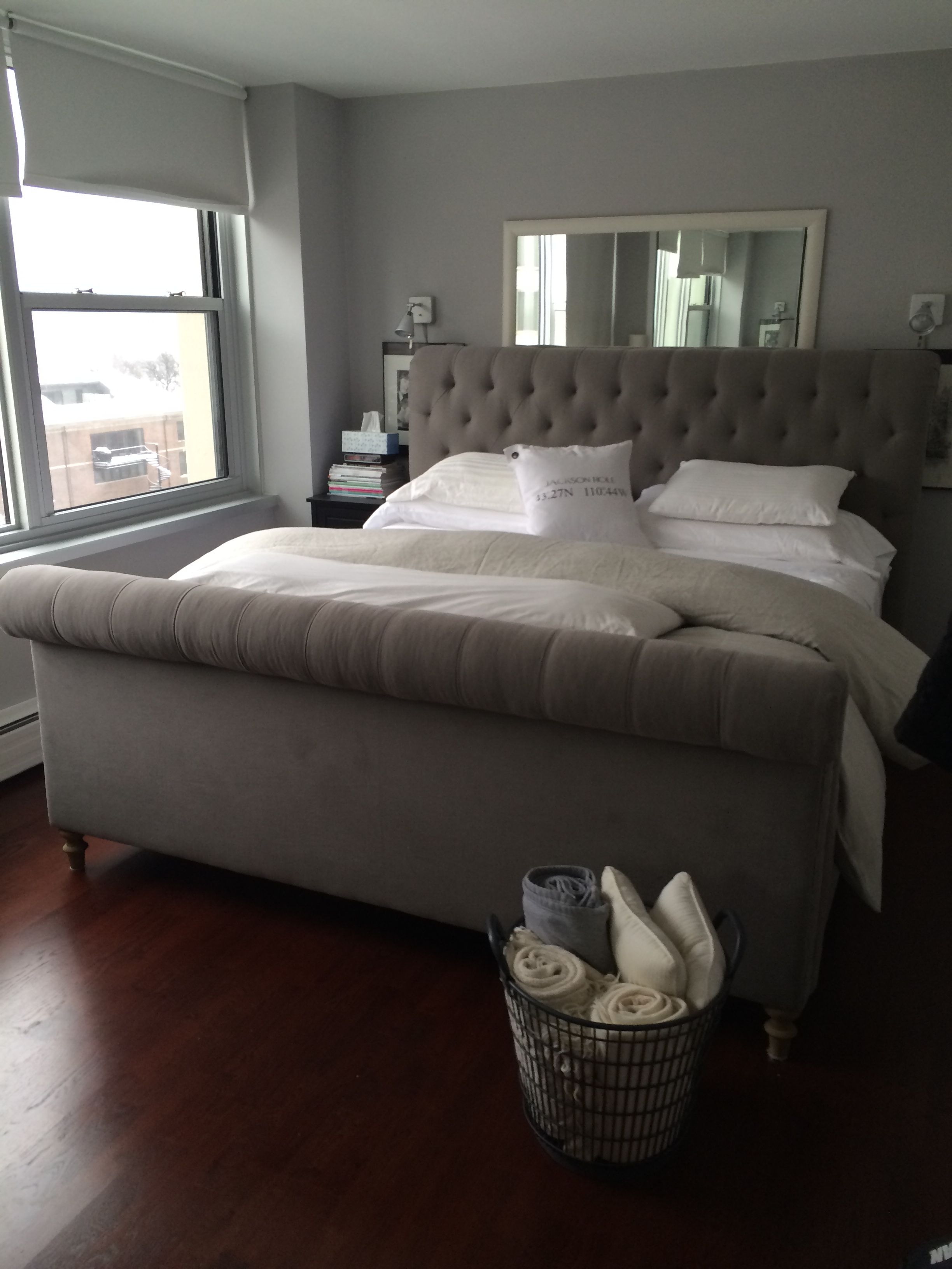 My new restoration hardware tufted sleigh bed in a Belgian