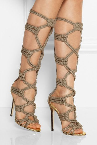 586f3c3e384a JIMMY CHOO Keane metallic elaphe and rope gladiator sandals