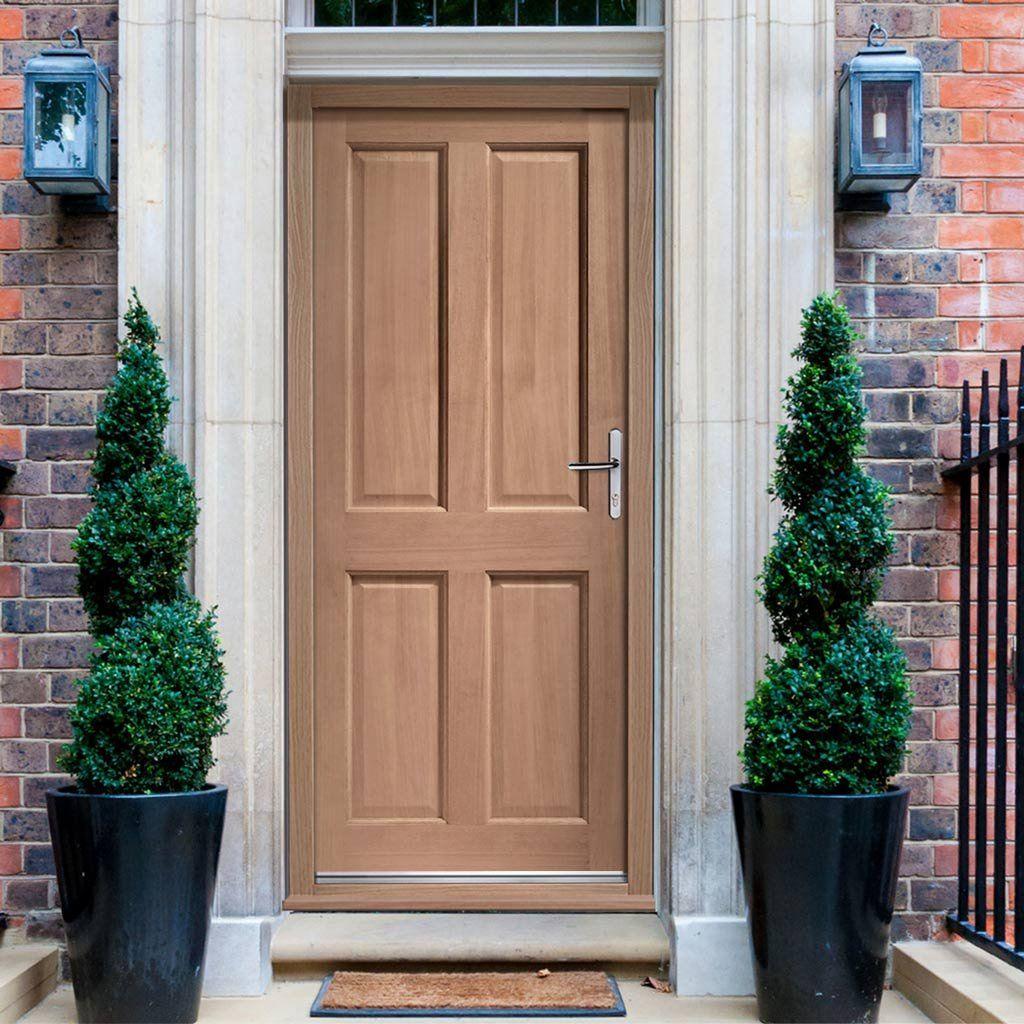Colonial Exterior 4 Panel Hardwood Door
