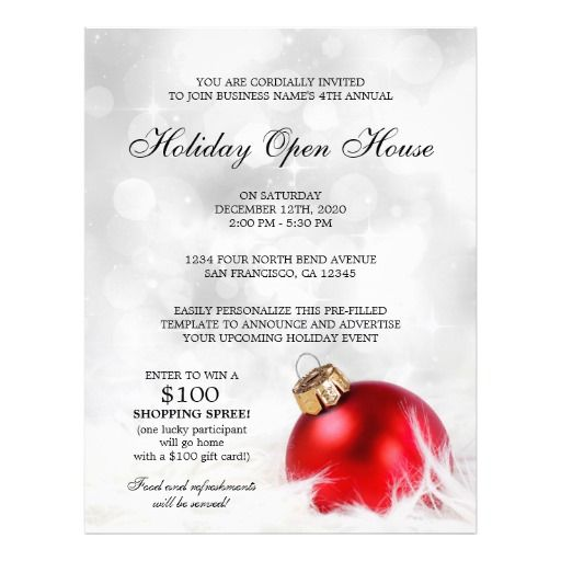 Pre-filled Holiday Open House Flyer Template Christmas And - open house flyer template