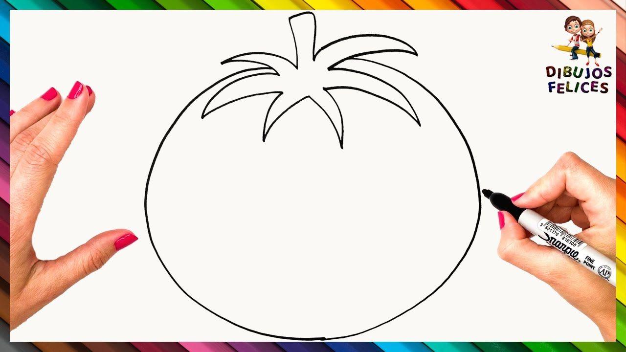 Como Dibujar Un Tomate Paso A Paso Dibujo Facil De Tomate Vegetales Dibujos Tomates Dibujo Dibujos Para Colorear Paisajes