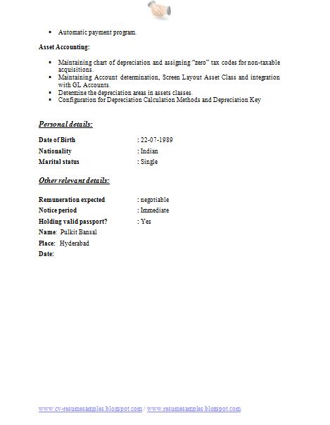 Banking Finance Resume Sample (Page 3)