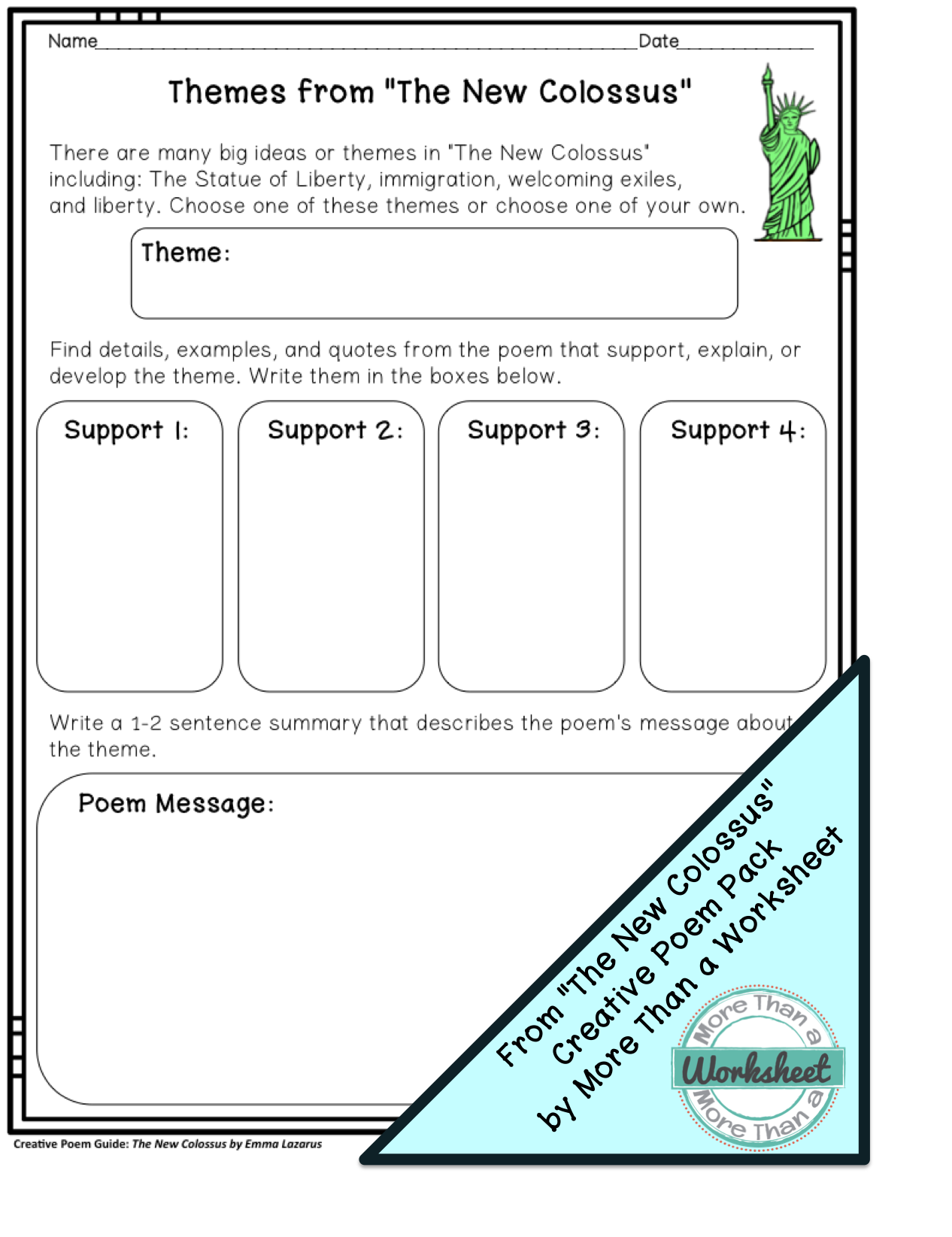 Poem Guide: The New Colossus by Emma Lazarus   Worksheets, Poem ...