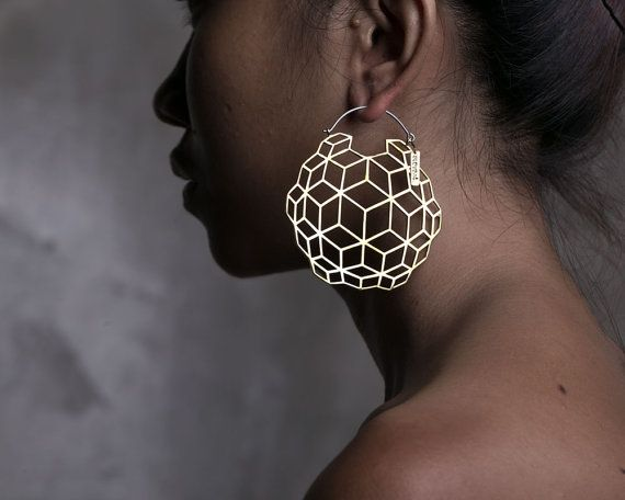3D Earrings  Globe Hoop Earrings  Boho Earrings by eleven44jewelry