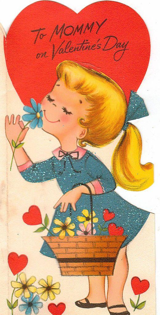 Valentine Mommy Sweet Blonde Girl w Flower Basket 1960's Vintage Greeting Card | eBay