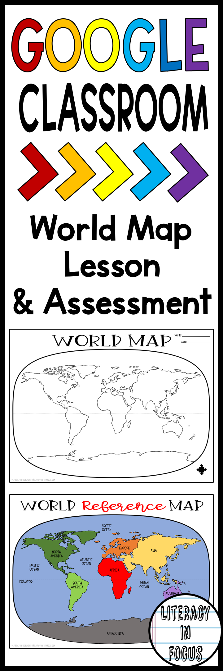 World Map Activity and Assessment Printable and Digital