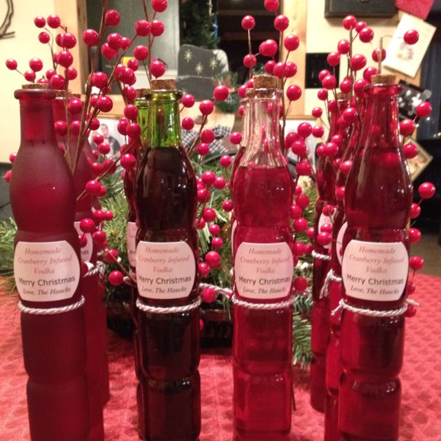 homemade cranberry vodka for christmas gifts made by becca