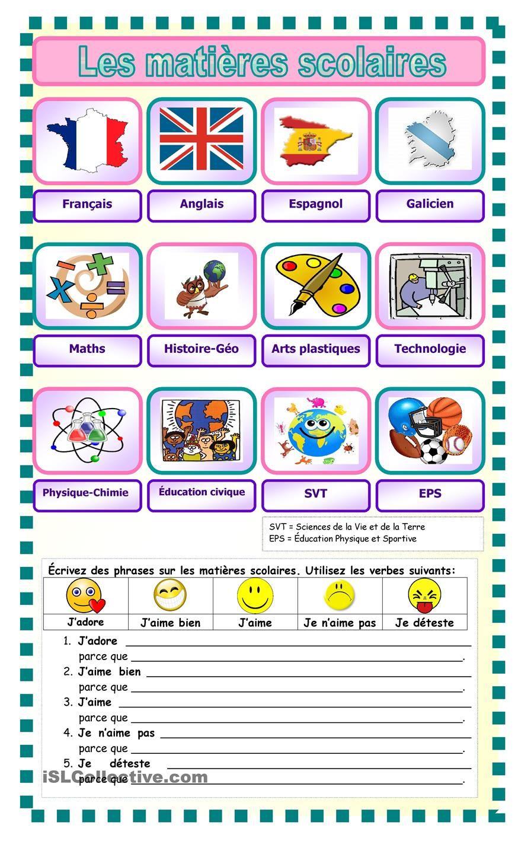 Célèbre Les matières scolaires | FLE | Pinterest | Language and School LA09