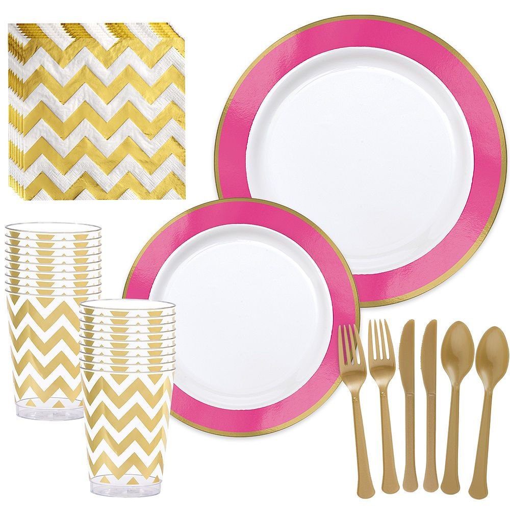 Premium Bright Pink Border & Gold Tableware Kit for 20