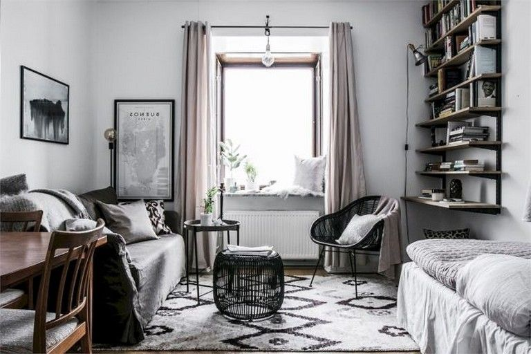 55 Awesome Studio Apartment With Scandinavian Style Ideas On A Budget Studio Apartment Decorating Apartment Decor Scandinavian Style