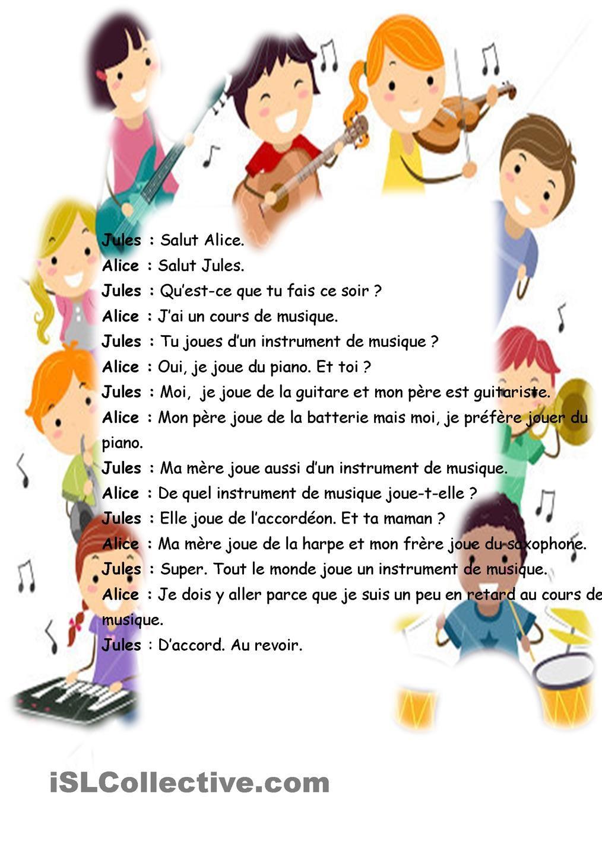 Dialogue Instruments De Musique Frans