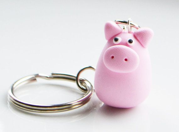Pig Keyring Keychain Fimo Polymer Clay by SweetnNeatJewellery
