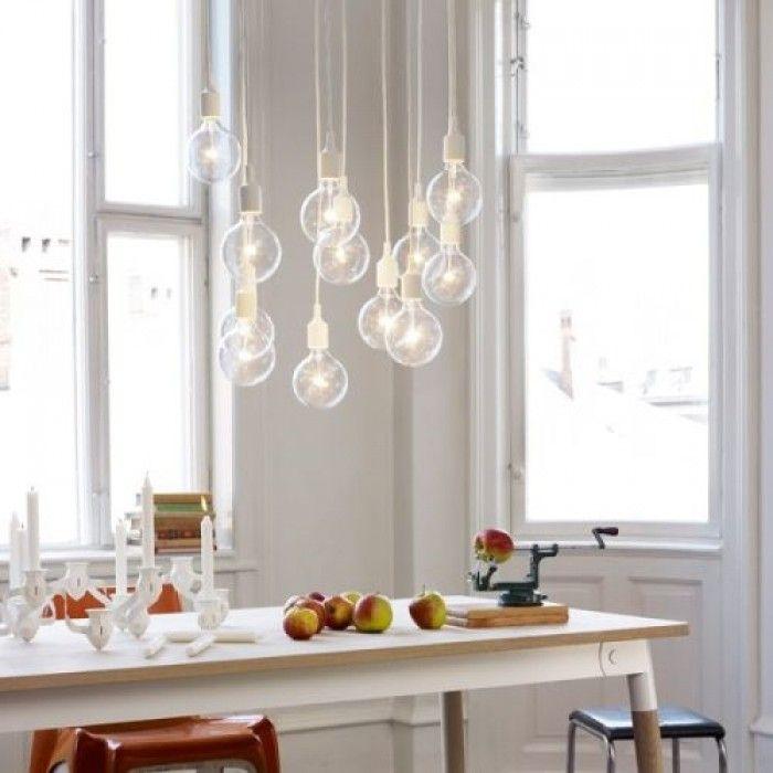 gaaf alleen wat mooie peertjes als lamp boven de eettafel
