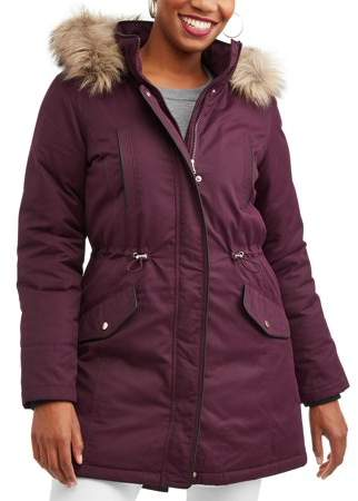 292f6d79203 Time and Tru Women s Heavyweight Parka Jacket With Faux Fur-Trim Hood