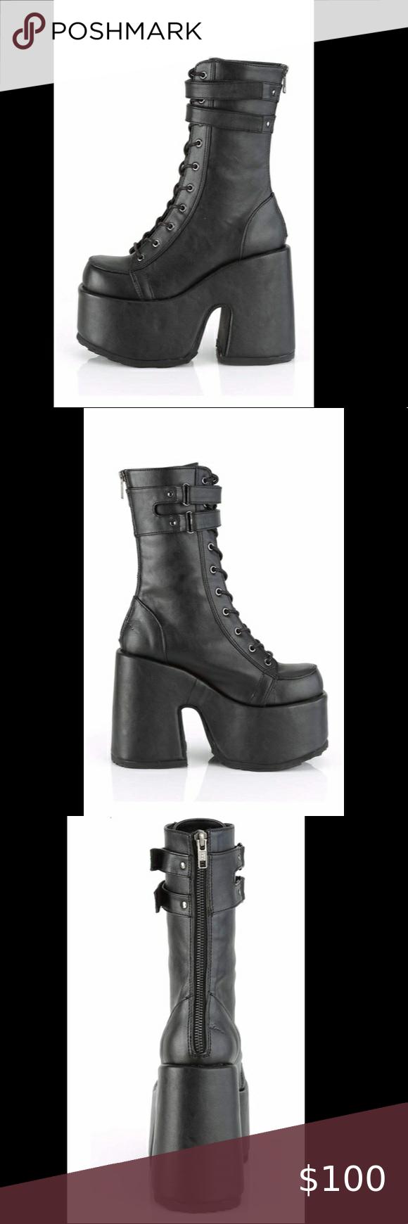 Vegan leather black comfy platform