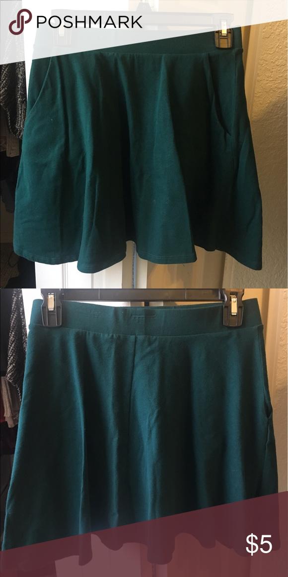 Skater Skirt With Pockets Very confy forest green skirt. Forever 21 Skirts Circle & Skater