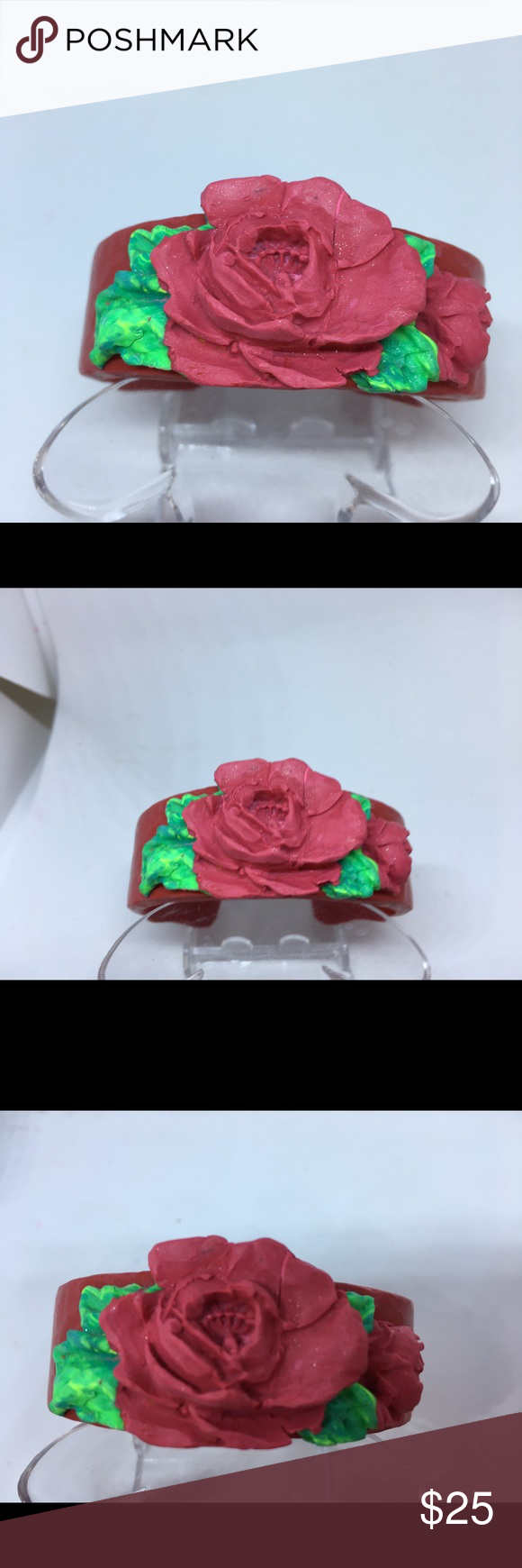 Unique Handmade Polymer Clay Cuff Bangle Bracelet #fabrictape