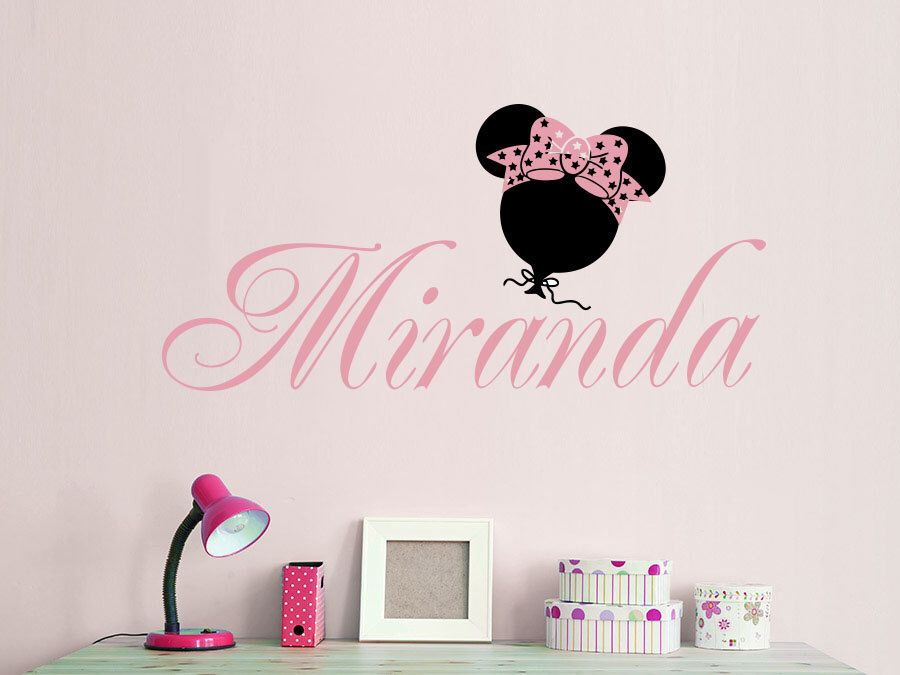 Wall decal girl name minnie mouse bow sticker personalized name nursery baby kids custom name vinyl