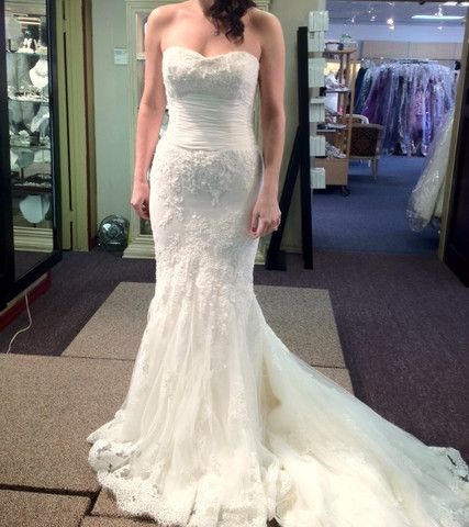 "Enzoani ""Francesca"" Wedding Dress Size 10 - Nearly Newlywed Wedding Dress Shop Has an illusion neckline option!"