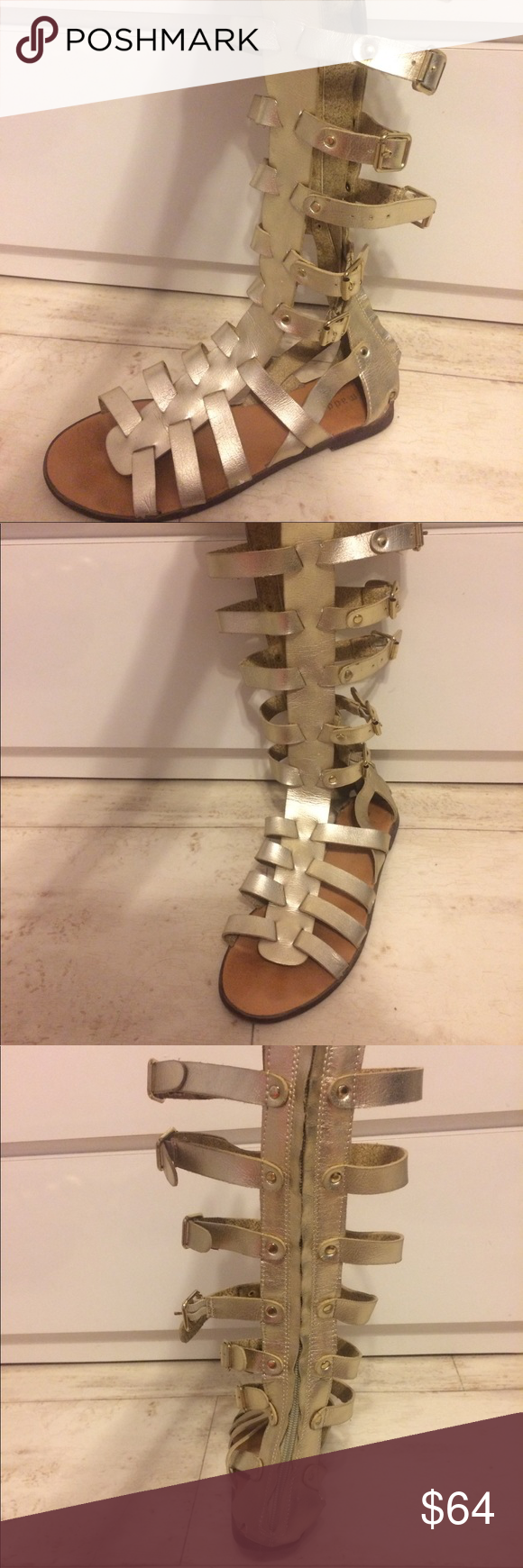"""0ca4d8569dd3 Madden Girl Gold Penna Tall Gladiator Sandals Gold vegan leather with  peep-toe and 14"""" shaft with adjustable gold buckles. Back zipper with 0.25""""  rubber ..."""