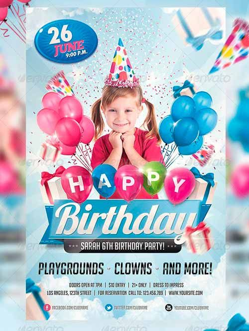 Kids Birthday Invitation Party Flyer Poster Flyer Pinterest - birthday flyer template