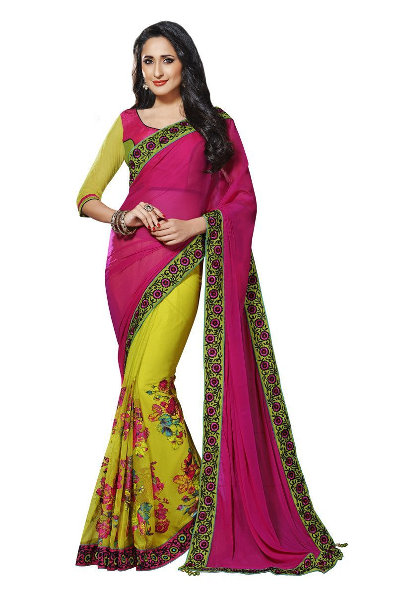Dark pink and green chiffon net half and half saree things to wear