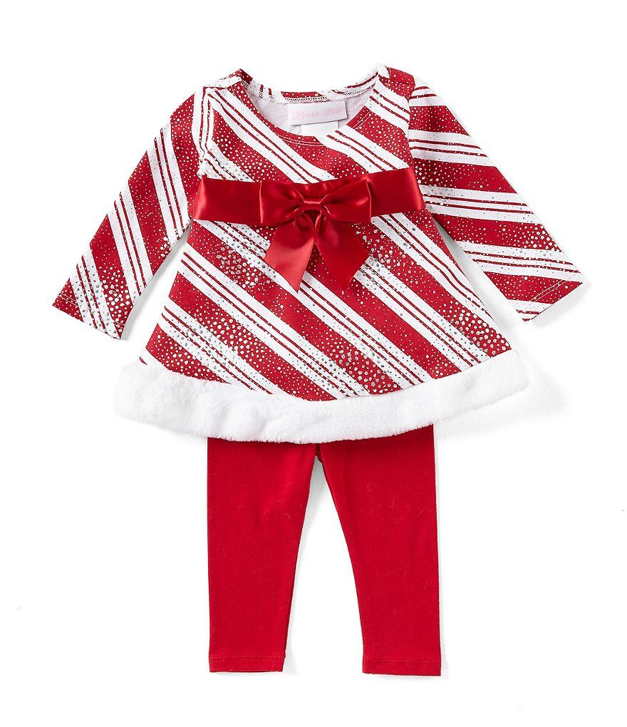 d08be1400db Bonnie Jean Baby Girls Newborn-24 Months Holiday Candy-Cane Stripe Dress &  Legging Set
