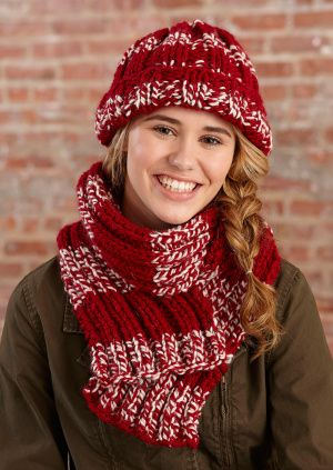 53bf209be1f Simple Knit Crimson Hat and Scarf size 13 needles