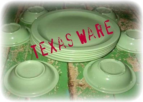 Jadite Green Melmac Dinnerware 18 pcs Texas Ware texasware melamine plastic dishes & Jadite Green Melmac Dinnerware 18 pcs Texas Ware texasware melamine ...