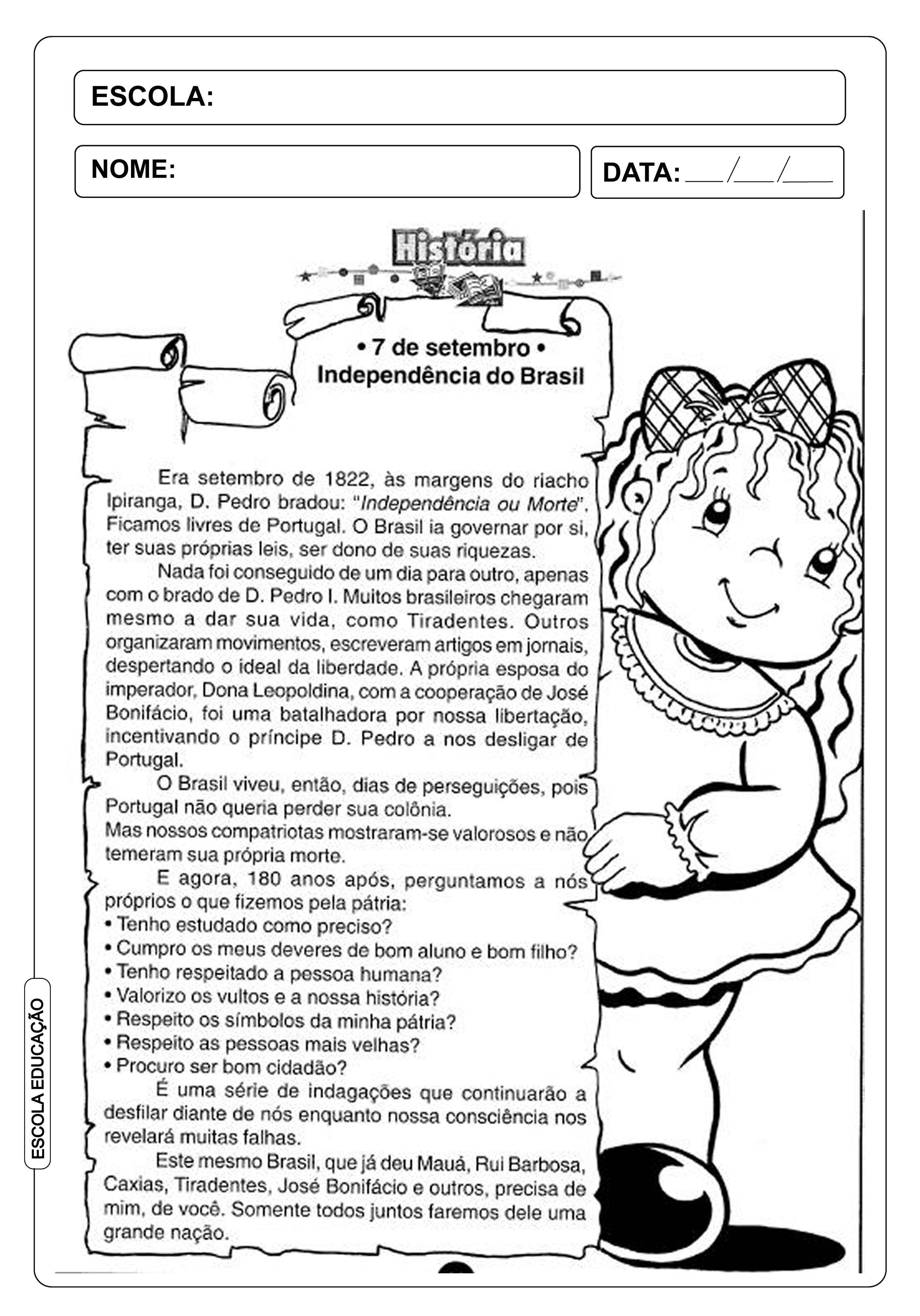 Atividade Independencia Do Brasil 7 De Setembro Atividades