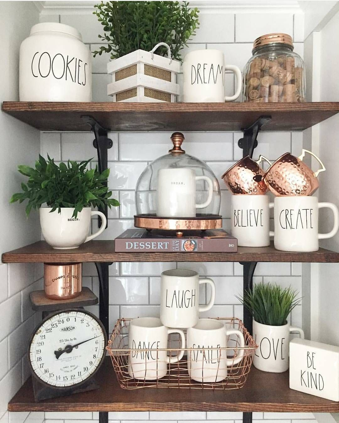 Kitchen Shelf Decor Ideas: Mixed Copper Collection, Plants & Eye-catching Kitchen