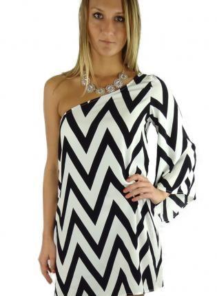 Multi Cocktail Dress Black And White Striped One Chevron