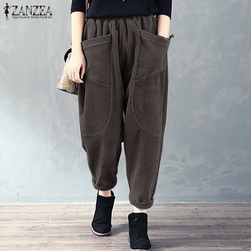 Photo of S 5XL ZANZEA Spring Casual Pantaloni in velluto a coste Vintage Solid Long Rapip Pants Donna …