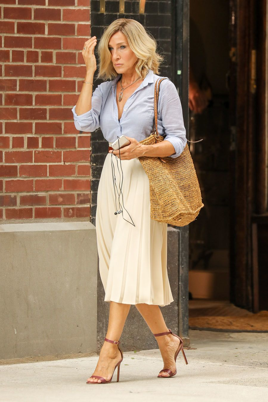 Sarah Jessica Parker looks effortlessly chic in a gray