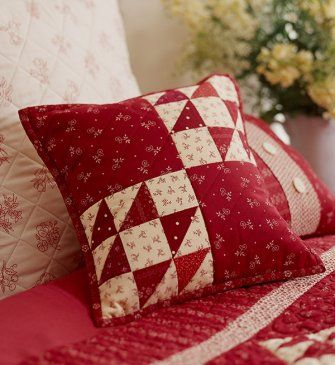 Combine simple designs and classic red-and-cream prints for an endearing cozy pillow.