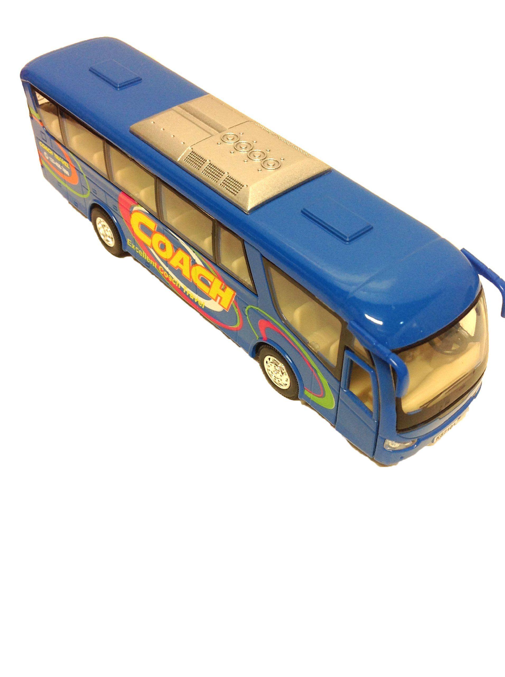Die Cast Metal 7 Coach Excellent Travel Blue Bus Pull Back