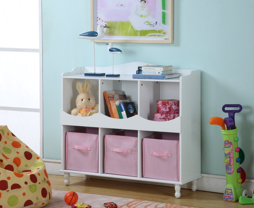 Kingus brand r wood cubby storage cabinet with pink fabric