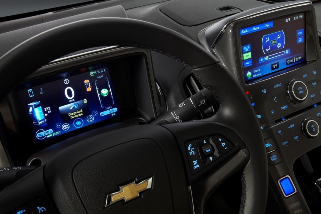 2013 Chevy Volt Interior Color Lcd Displays Touch Sensitive Button Pads Custom Info Modern Design Chevrolet Volt Chevy Volt Chevy Volt Interior