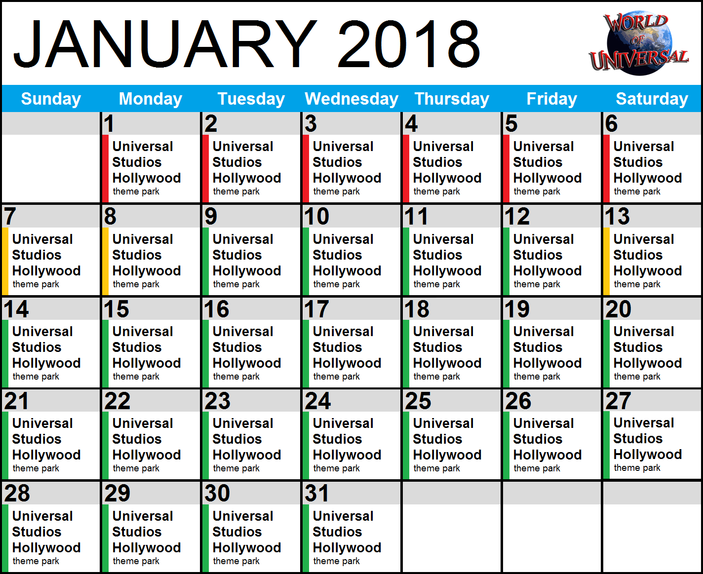 Use our FREE crowd calendar, designed specifically for Universal