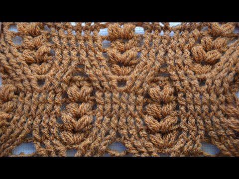 Рельефный узор крючком Колоски. The Spikelets Stitch. - YouTube
