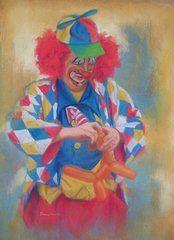 Clown Making Balloon Animals  by Diane Caudle