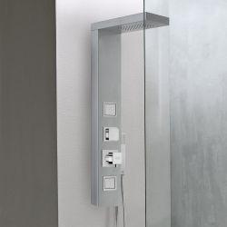 ce panneau de douche multi jets fait d 39 acier inoxydable bross se fixe tous les types de murs. Black Bedroom Furniture Sets. Home Design Ideas