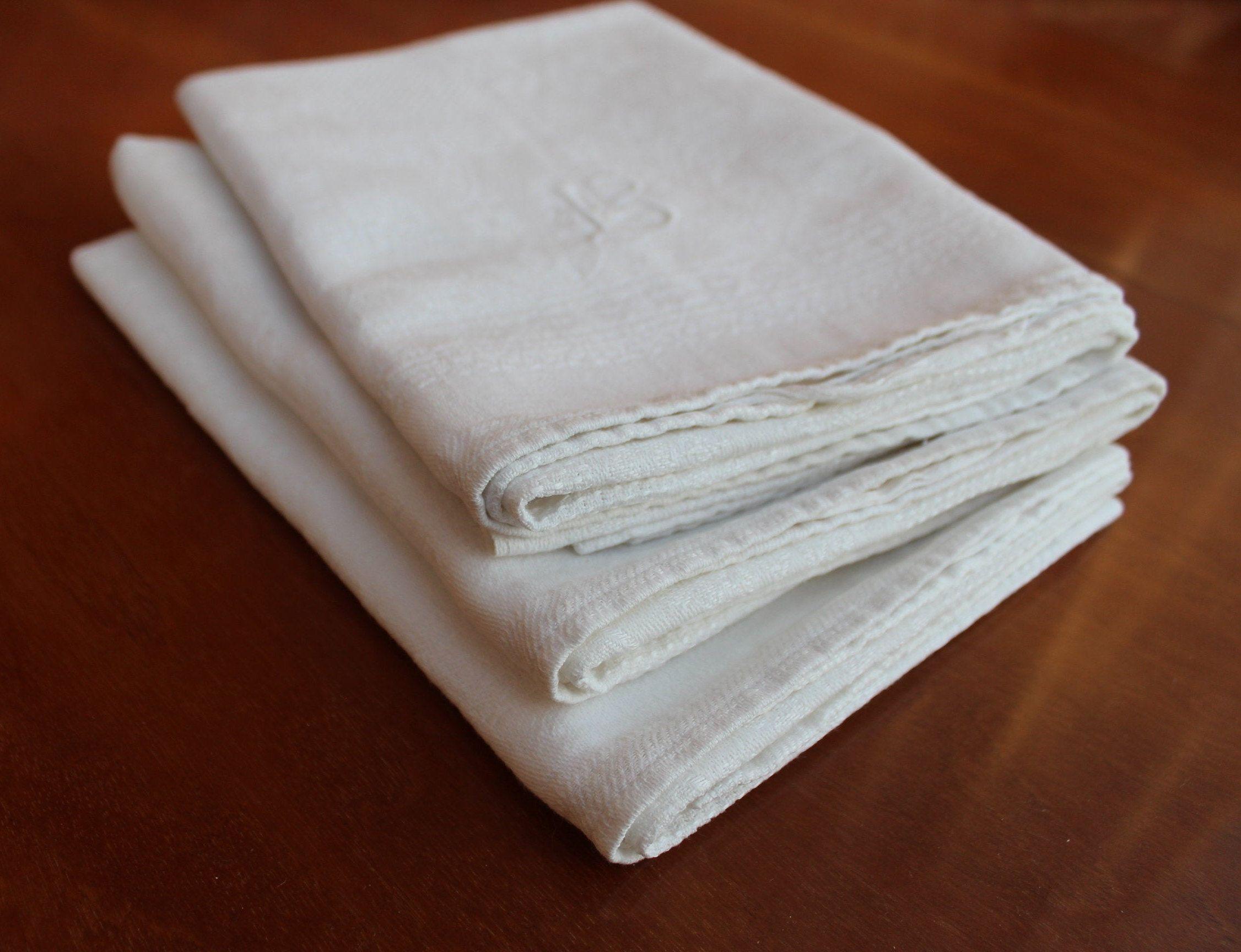 Vintage Set of 17 Tea towels White Half Linen Dry Cloths Cloth 17 x