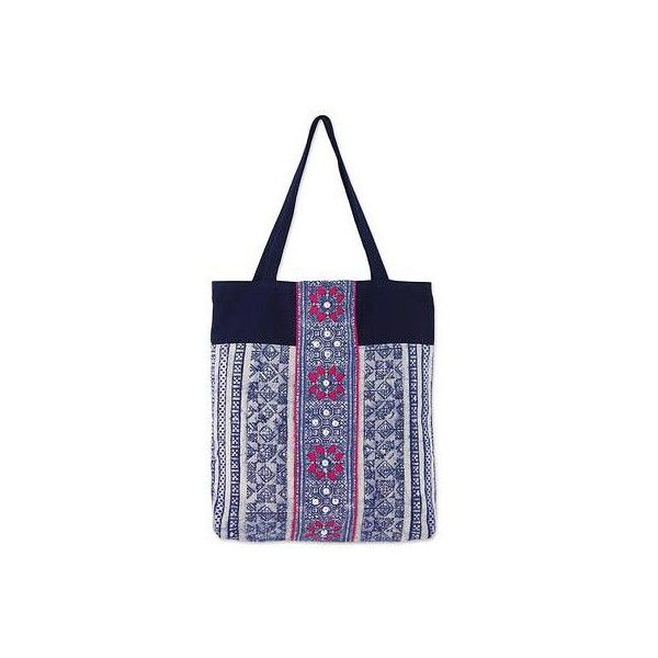 Novica Cotton tote bag, Blue Directions